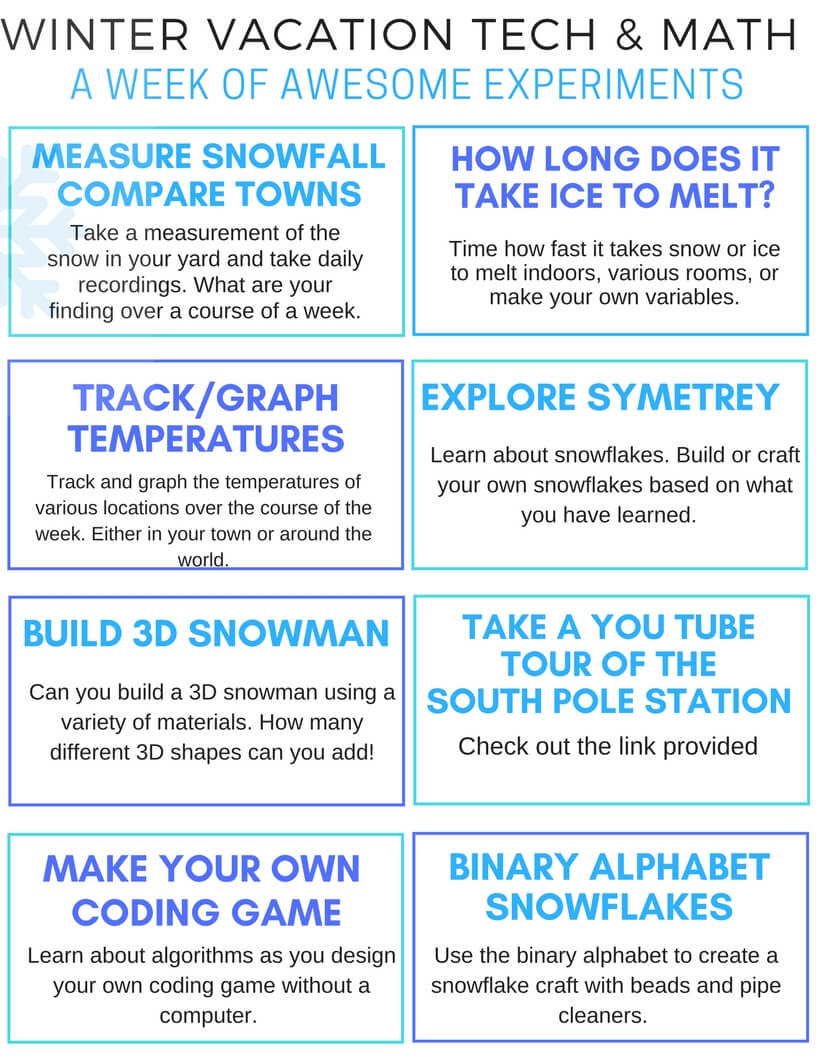 Winter STEM Challenge Activity Cards For Kids FREE Printable