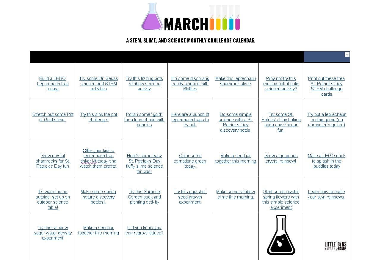 Monthly Stem Activities Calendars For Kids Free Printable