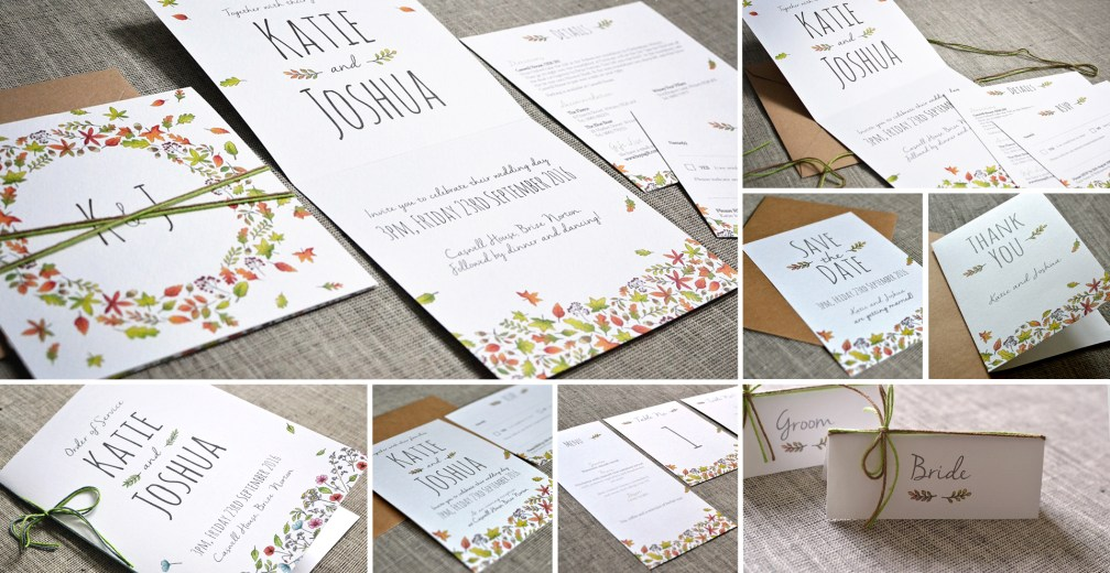 Autumn wedding invitation and stationery