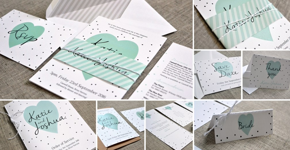 Modern wedding invitation and stationery