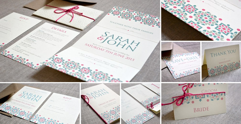 Moroccan wedding invitation and stationery
