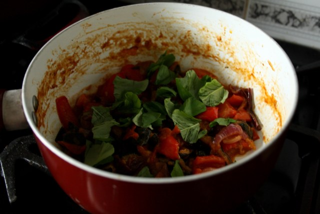 Add a little more fresh basil just before serving