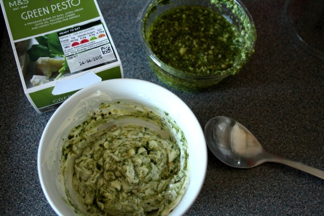 Mix Pesto with Cream Cheese for the Dip
