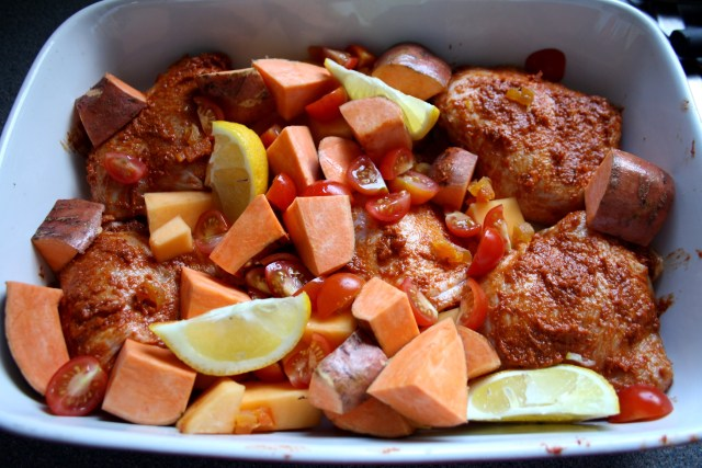 Next add the Tomatoes, Oiled Sweet Potato and Lemon Wedges