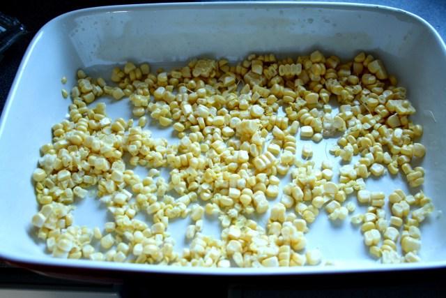 Spread corn over base