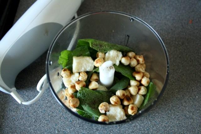 Wild Garlic Pesto - Wild Garlic Leaves, Handful of Toasted Hazelnuts, Chunk of Parmesan, Glug of Olive Oil & Seasoning