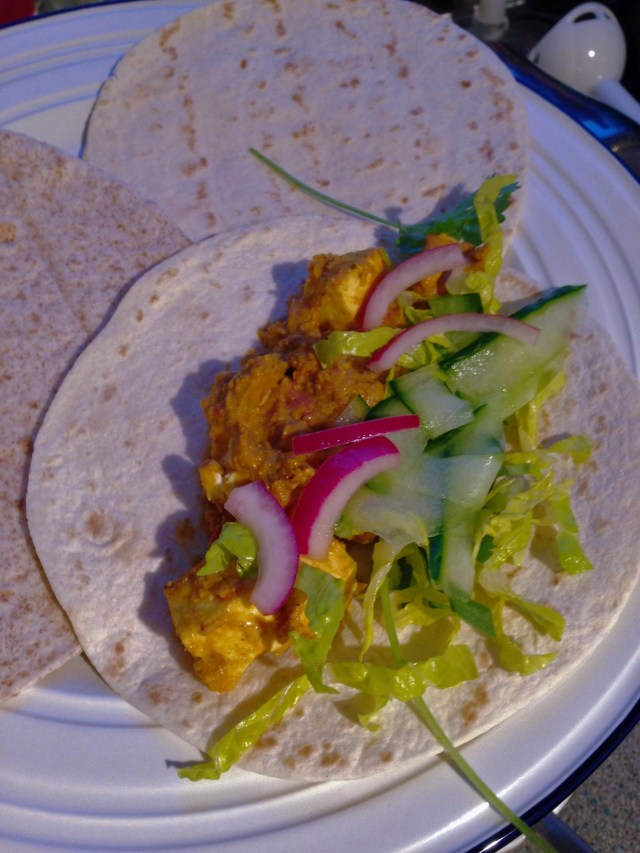 Serve with cucumber ribbons, salad & pickled onion - Indian Paneer Tacos
