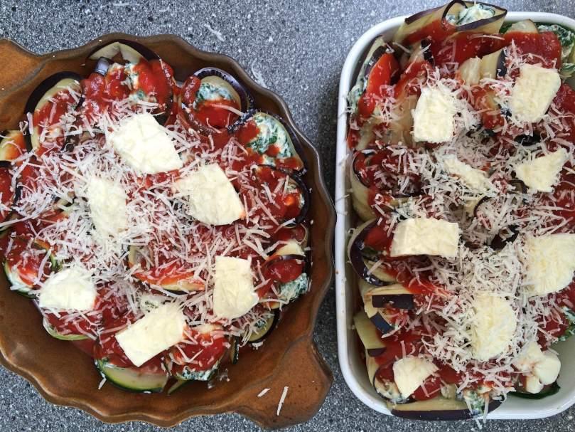 Cannelloni aubergine courgette