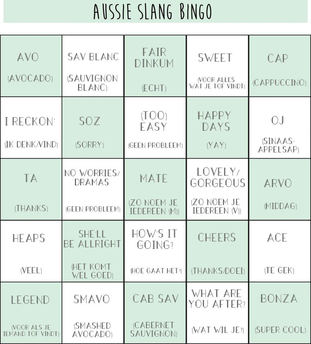Aussie slang bingo