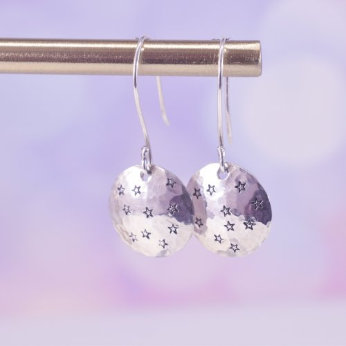 Handmade Sterling Silver Domed Star Drop Earrings