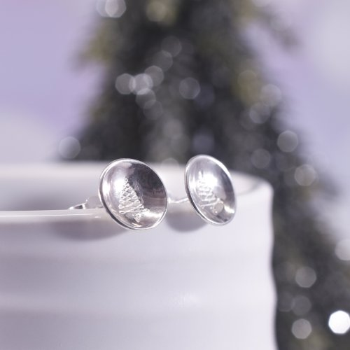 Handmade Sterling Silver Christmas Tree Stud Earrings