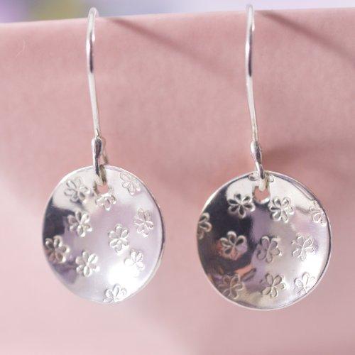 Handmade Sterling Silver Daisy Disc Drop Earrings