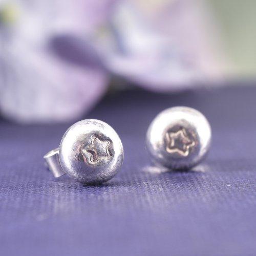 Handmade Recyled Sterling Silver Star Stud Earrings