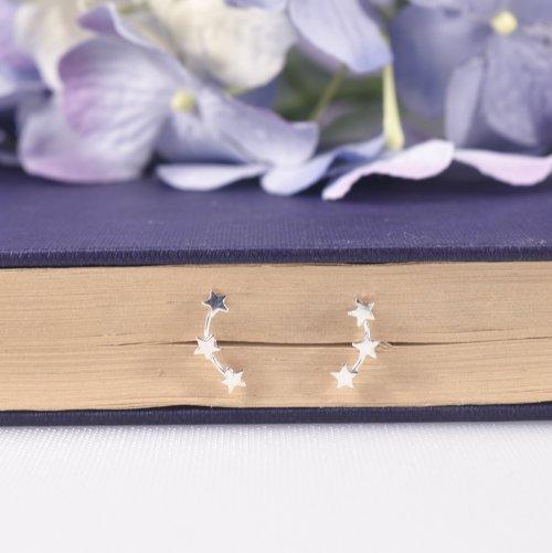 Sterling Silver Celestial Stars Ear Climber Earrings