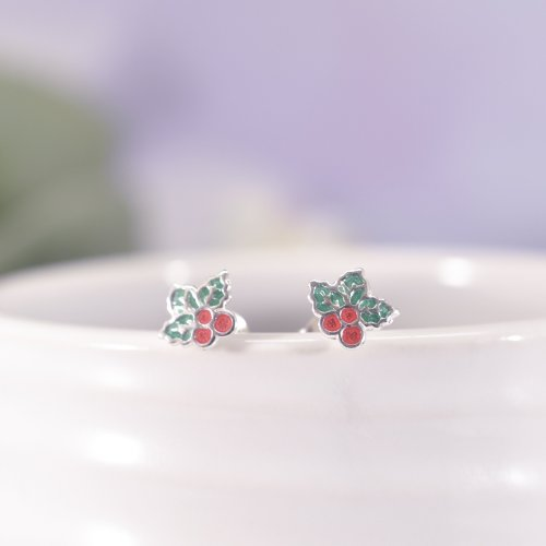 Sterling Silver Enamel Christmas Holly Leaf Stud Earrings