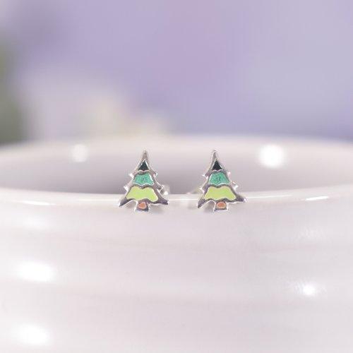Sterling Silver Enamel Christmas Tree Stud Earrings