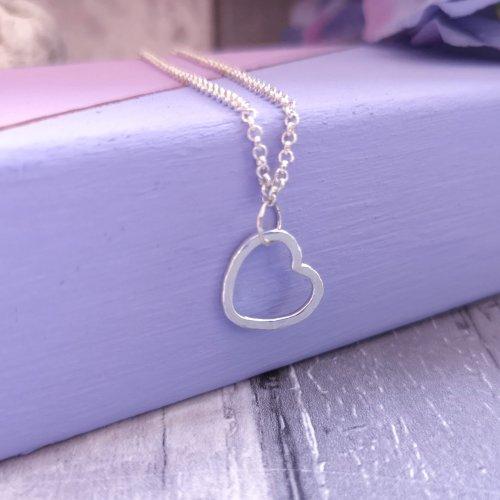 Handmade Sterling Silver Hammered Heart Bracelet