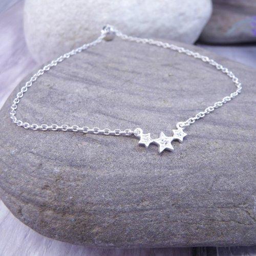 Handmade Sterling Silver Triple Star Bracelet