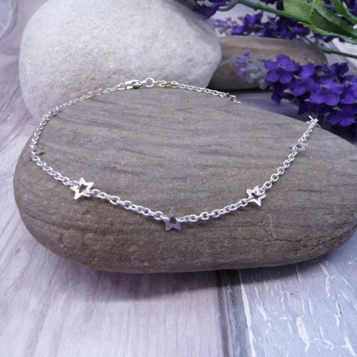 Handmade Sterling Silver Star Anklet