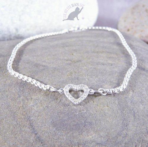 Handmade Sterling Silver Cubic Zirconia Heart Bracelet