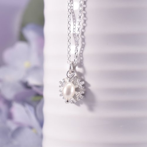 Handmade Sterling Silver Mini Snowflake Necklace