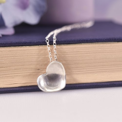 Handmade Sterling Silver Satin Heart Necklace