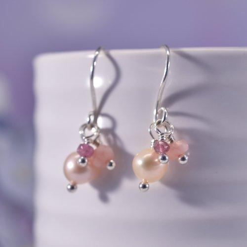 Handmade Sterling Silver Pearl Cluster Drop Earrings