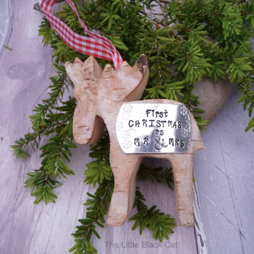 Handmade First Christmas as Mr & Mrs Reindeer Decoration
