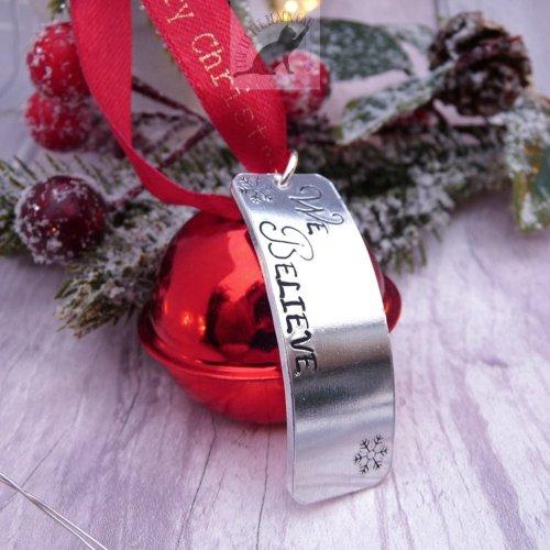 Handmade Red Christmas Believe Bell Decoration