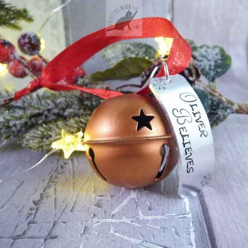 Handmade Copper Christmas Believe Bell Decoration