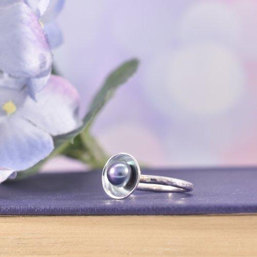 Handmade Sterling Silver Pearl Orb Ring