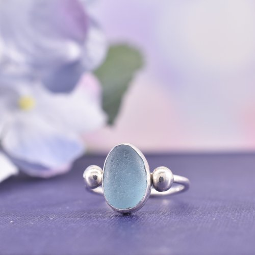 Handmade Sterling Silver Rock Pool Sea Glass Ring | Size O
