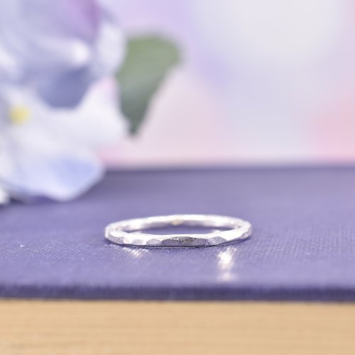 Handmade Sterling Silver Hammered Band Ring