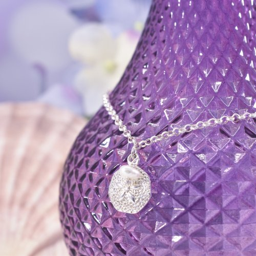 Handmade Sterling Silver Sand Dollar Charm Anklet with White Pearl