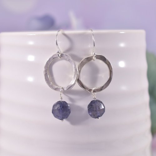 Handmade Sterling Silver Iolite Circle Earrings