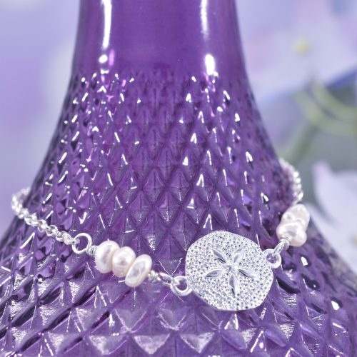 Handmade Sterling Silver Sand Dollar Bracelet with Pearls