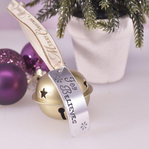 Handmade Gold Christmas Believe Bell Decoration