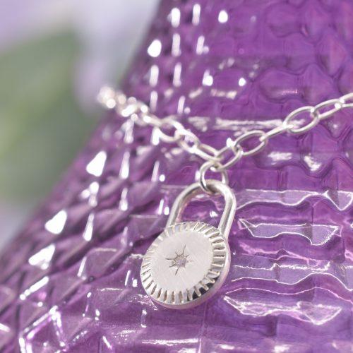 Handmade Sterling Silver Guiding Star Padlock Bracelet