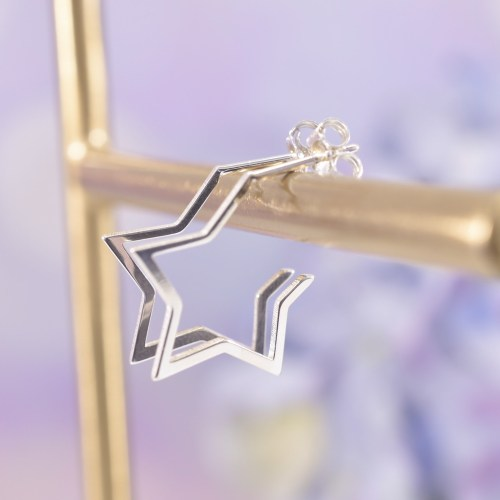 Sterling Silver Starburst Huggie Hoop Earrings