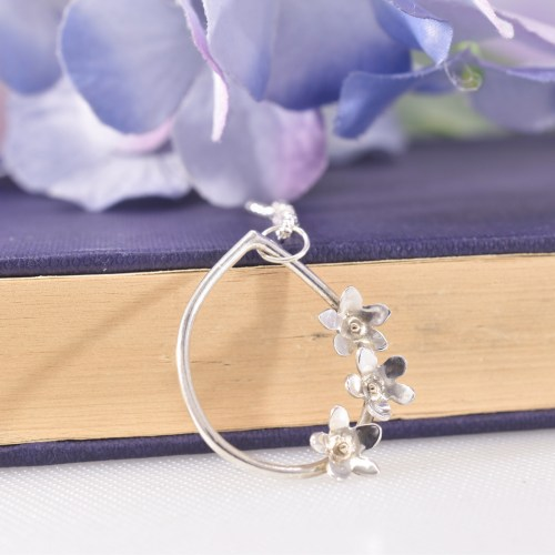 Handmade Sterling Silver Forget Me Not Necklace