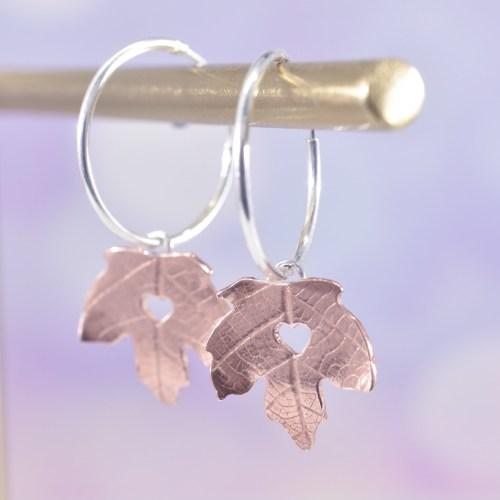 Handmade Copper Maple Leaf Hoop Earrings