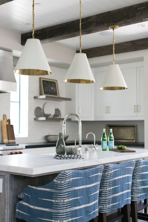 Visual Comforting Lighting White Pendants with Gold Interiors