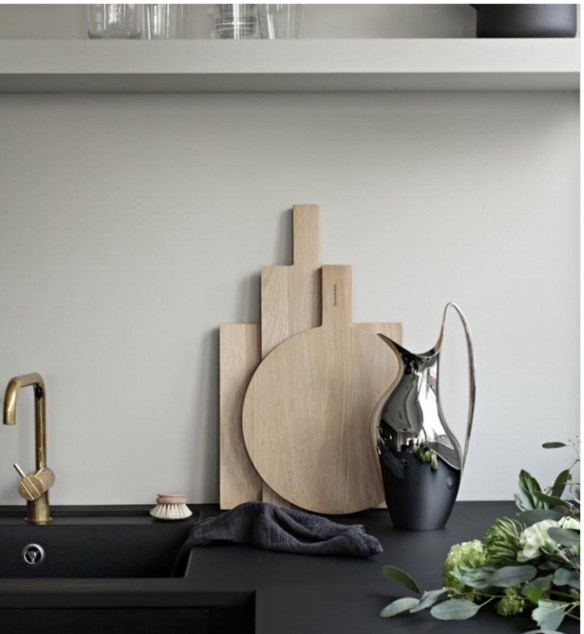 Stylizimo Black Matte Counter top with Brass Sink Faucet and Shiny Chrome Pitcher