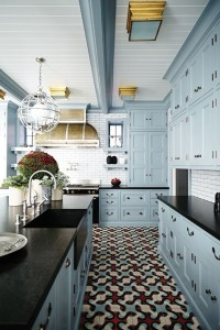 jillian harris painted blue gray cabinets with gold and silver lighting finishes