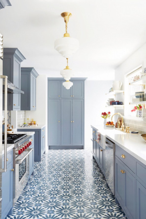 via beckiowens Blue painted cabinets and blue cement pattern tile floor