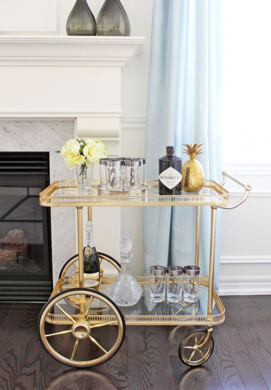 Pinterest Brass Bar Cart with Large Wheel Henricks Gin