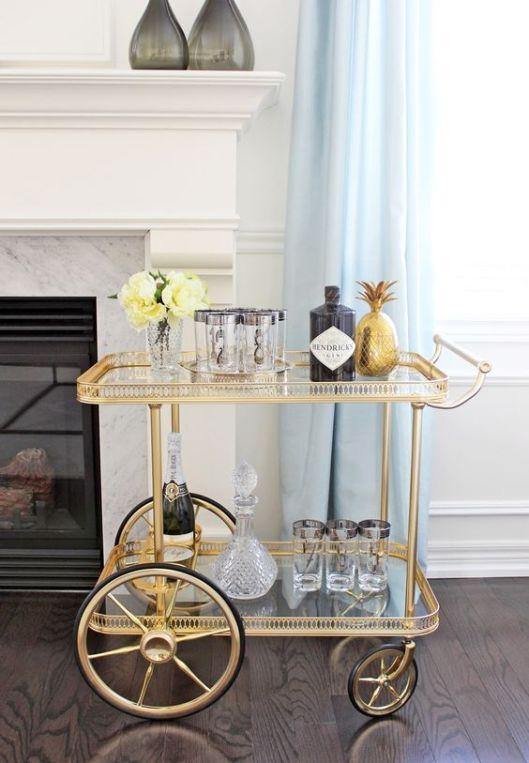 Pinterest Brass Bar Cart with Large Wheel Henricks Gin