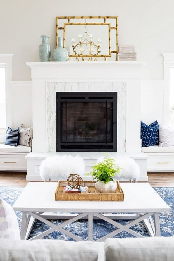 via pinterest Neutral Living Room with Blue Area Rug