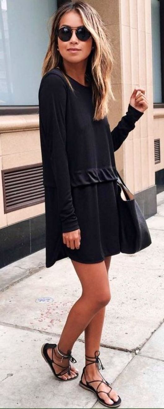 via pinterest Girl in Little Black Dress and Black Sandles