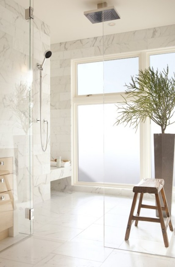walk in, zero clearance marble tile shower